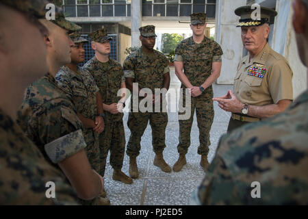 Athens, Greece, Greece. 3rd Sep, 2018. Marine Corps Gen. Joe Dunford, chairman of the Joint Chiefs of Staff, meets with Marines assigned the Marine Corps Embassy Security Group at the U.S. Embassy in Athens, Greece, Sept. 4, 2018. (DOD photo by U.S. Navy Petty Officer 1st Class Dominique A. Pineiro) US Joint Staff via globallookpress.com Credit: Us Joint Staff/Russian Look/ZUMA Wire/Alamy Live News - Stock Photo