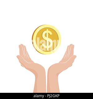 Hands with money coin. Flat icon. Vector illustration - Stock Photo