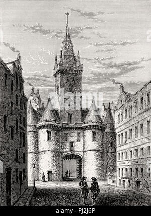 The Netherbow Port seen from The Canongate, Edinburgh, Scotland, 19th century - Stock Photo