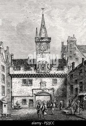 The Netherbow Port seen from The High Street, Edinburgh, Scotland, 19th century - Stock Photo