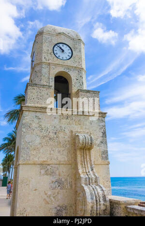 Palm Beach, Florida, USA clock tower on Worth Ave. - Stock Photo