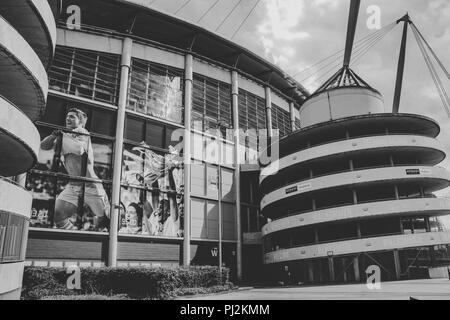 The iconic Ethiad Manchester City Football Stadium - Stock Photo