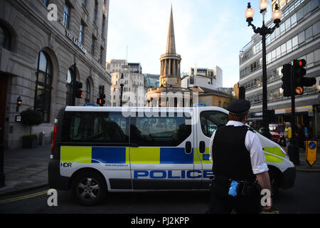 A police van outside of BBC Broadcasting House, on Portland Place, London, after reports of a specious vehicle outside the building. - Stock Photo