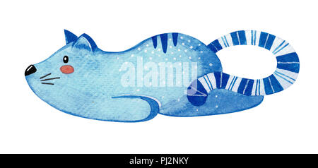 Cute lazy cat. Blue cat isolated on white background. Watercolor - Stock Photo
