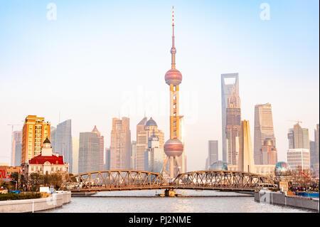 Waibaidu Bridge and city skyline, Shanghai, China - Stock Photo
