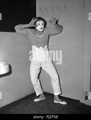 French actor and mime artist, Marcel Marceau in performing in Chicago, March 5, 1958. - Stock Photo