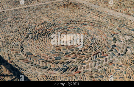 Floor stones laid out pattern captured in Girona, Catalonia, Spain. - Stock Photo