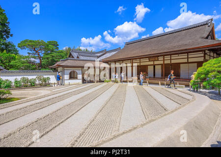 Kyoto, Japan - April 28, 2017: people visit zen garden at Ginkakuji Temple. Ginshadan sand pattern representing the sea. Silver Pavilion or Jisho-ji, is a popolar Zen temple Unesco Heritage in Kyoto. - Stock Photo