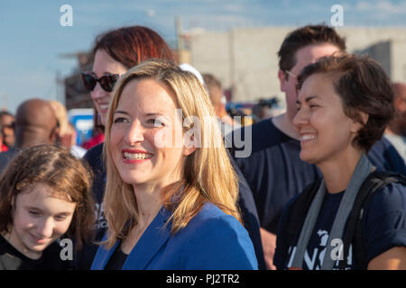 Detroit, Michigan - 3 September 2018 - Jocelyn Benson, the Democratic candidate for Michigan Secretary of State, campaigns at Detroit's Labor Day para - Stock Photo