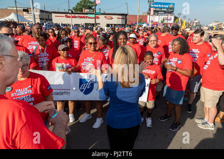 Detroit, Michigan - 3 September 2018 - Jocelyn Benson (back to camera), the Democratic candidate for Michigan Secretary of State, talks with teachers  - Stock Photo