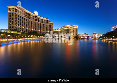 The Bellagio resort, luxury hotel, and casino on the Las Vegas strip at night - Las Vegas, Nevada - Stock Photo