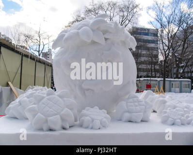 Snow sculptures in winter. - Stock Photo