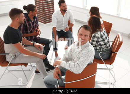 confident Manager , sitting at the workshop - Stock Photo