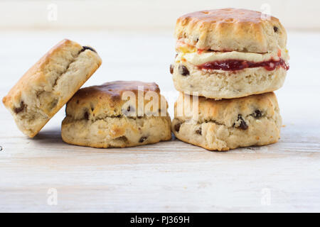 Close up of four scones with jam and cream, on the plate, on the white wooden table, selective focus copy space for text - Stock Photo
