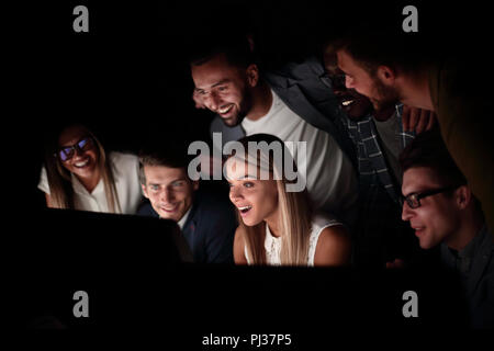 close up.a successful business team runs on computers - Stock Photo