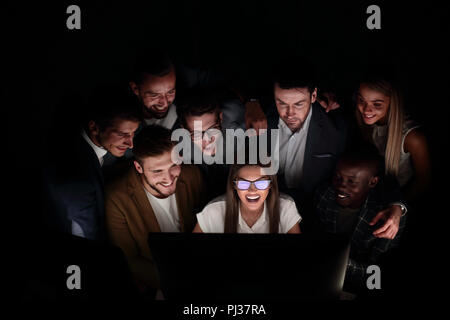 close up. young business team working overtime. - Stock Photo