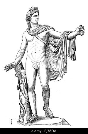 Apollo, ancient Greek god of light, healing and poetry, digital improved reproduction of an original from the year 1895 - Stock Photo