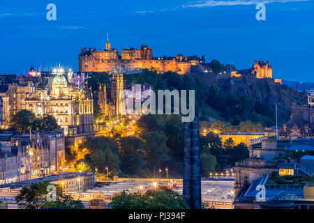 Edinburgh Cityscape from Calton Hill sunset dusk, Edinburgh, Scotland UK - Stock Photo