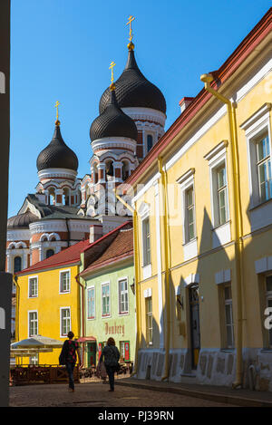 Tallinn street scene, view on a summer morning of two young women walking together along a colorful street on Toompea Hill in Tallinn, Estonia. - Stock Photo