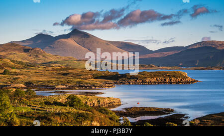 Looking over to Ben More caught with the evening light on the island of Mull In Scotland - Stock Photo