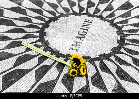 New York City. The caption Imagine on the memorial mosaic at Strawberry Fields John Lennon Memorial in Central Park, Manhattan