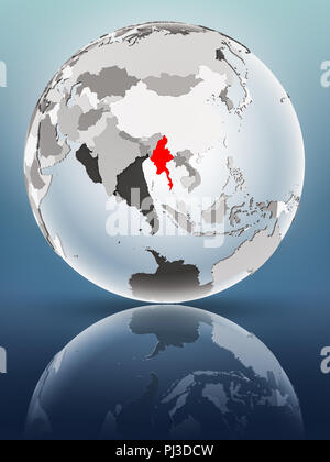 Myanmar on globe with translucent oceans on shiny surface. 3D illustration. - Stock Photo