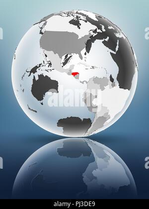 Honduras on globe with translucent oceans on shiny surface. 3D illustration. - Stock Photo