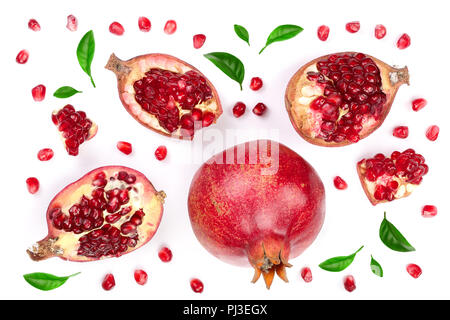 pomegranate with leaves isolated on white background. Top view. Flat lay pattern. - Stock Photo