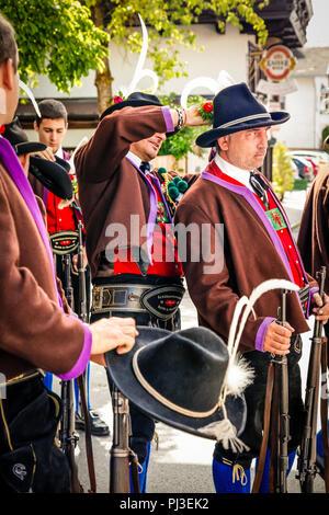 Men of the Tyrolean Militia on Patronage day in Reith bei Seefeld, Austria - Stock Photo