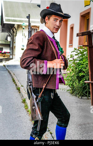 Soldier of the Tyrolean Militia on Patronage day in Reith bei Seefeld, Austria - Stock Photo