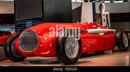 SHANGHAI, CHINA - MAY 17, 2018: Shanghai Auto Museum exhibits a collection of vintage and modern automobiles, details and the device and development a - Stock Photo
