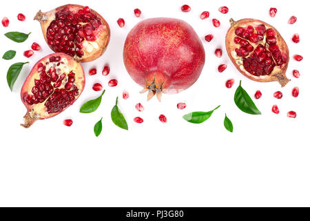 pomegranate with leaves isolated on white background with copy space for your text. Top view. Flat lay pattern - Stock Photo