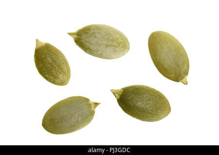 Pumpkin seeds or pepitas, isolated on white background. Top view. Flat lay - Stock Photo