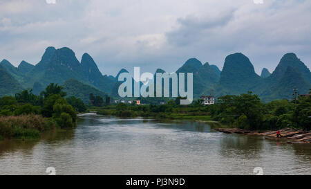 The famous landscape of karst peaks in Yangshuo town of China. Asian nature. - Stock Photo