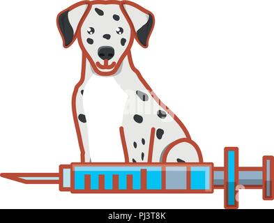 cute dalmatian and syringe over white background, vector illustration - Stock Photo