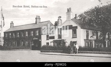 Bacchus Hotel at Sutton-on-Sea, Lincolnshire, England. 1920 or before. - Stock Photo