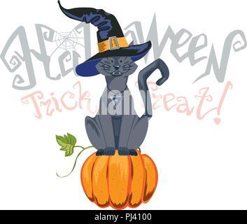 Halloween illustration with black cat on moon background. - Stock Photo
