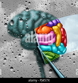 Brain creativity as a gray blurry brain with drops on a window as a wiper cleans the confusion to a creative thinking as a symbol of autism and autist - Stock Photo