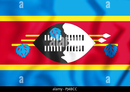 3D Flag of the Swaziland. 3D Illustration. - Stock Photo
