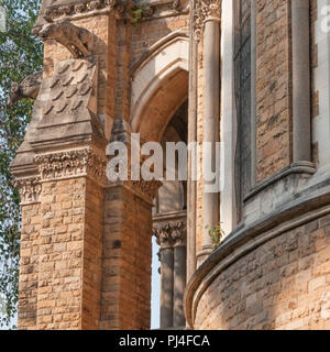 Mumbai University building at Fort campus. Intricate stone carving on the walls. - Stock Photo