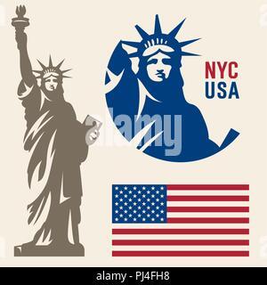Statue of Liberty. New York landmark. American symbol. American flag - Stock Photo