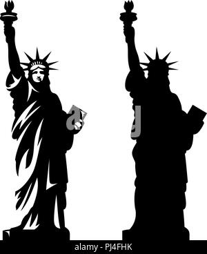 Statue of Liberty. New York landmark. American symbol. Vector silhouette - Stock Photo