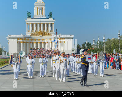 MOSCOW, RUSSIA - AUGUST 25, 2018: Festive procession of the Spasskaya Tower International Military Music Festival participants at VDNKH. - Stock Photo