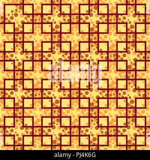 Seamless Background, Abstract Tile Geometric Pattern with Squares and Circles. Vector - Stock Photo