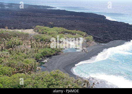 Aerial view of Issac Hale boat ramp that was encroached upon by lava from the recent three month eruption in Leilani Estates on Hawaii Island. The Hawaii Army National Guard provided key leadership from the Hawaii County, FEMA, USGS, and the Hawaii National Guard with an aerial survey of areas of the island effected by the recent eruption and hurricane Lane. August 29 2018, Hilo Hawaii. (U.S Air National Guard Photo by Tech. Sgt. Andrew Jackson) - Stock Photo
