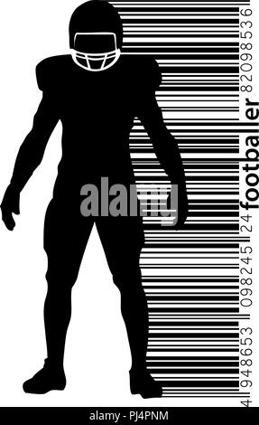 silhouette of a football player. Background and text on a separate layer, color can be changed in one click. Rugby. American football - Stock Photo