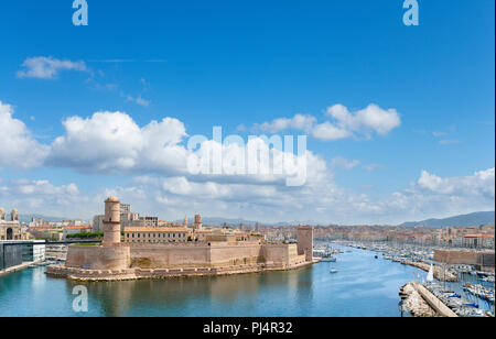 View over the old port and Fort Saint-Jean from the Palais du Pharo, Marseille, Provence-Alpes-Côte d'Azur, France - Stock Photo