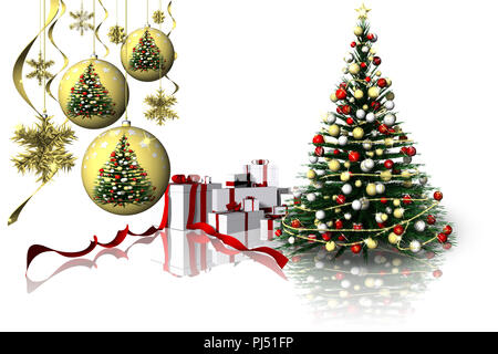 3D illustration. Christmas. Christmas gifts beside Christmas decorations. - Stock Photo