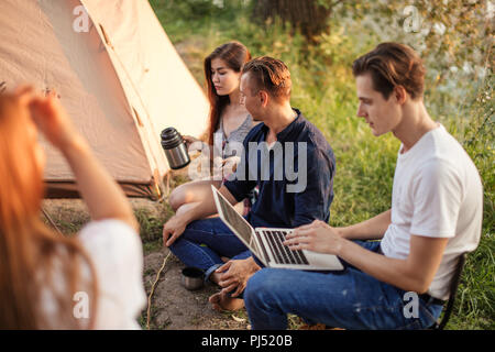 hardworking businessman is working on the laptop - Stock Photo
