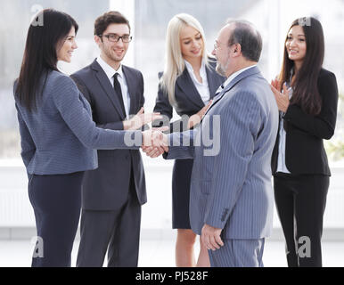 Business handshake and business people concept. Two men shaking hands. - Stock Photo